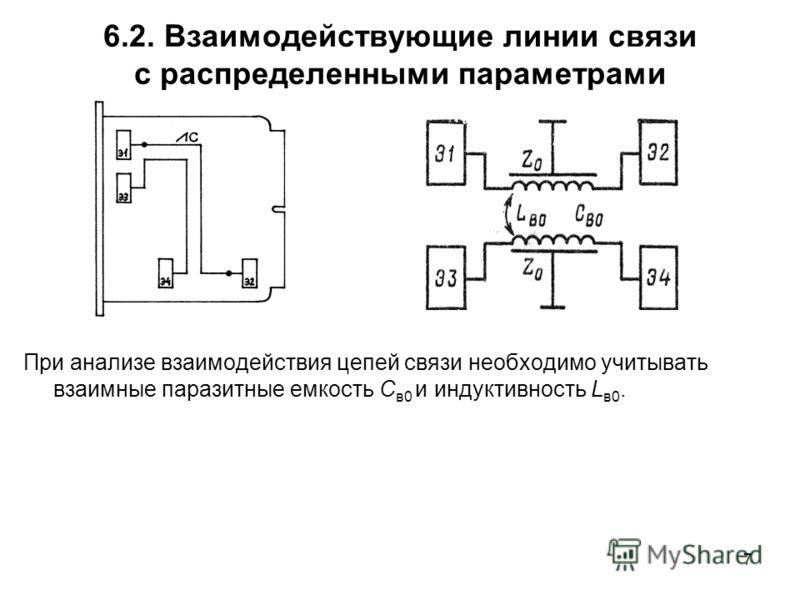 7 6.2. Взаимодействующие линии связи с распределенными параметрами При анализе взаимодействия цепей связи необходимо учитывать взаимные паразитные емкость С в0 и индуктивность L в0.