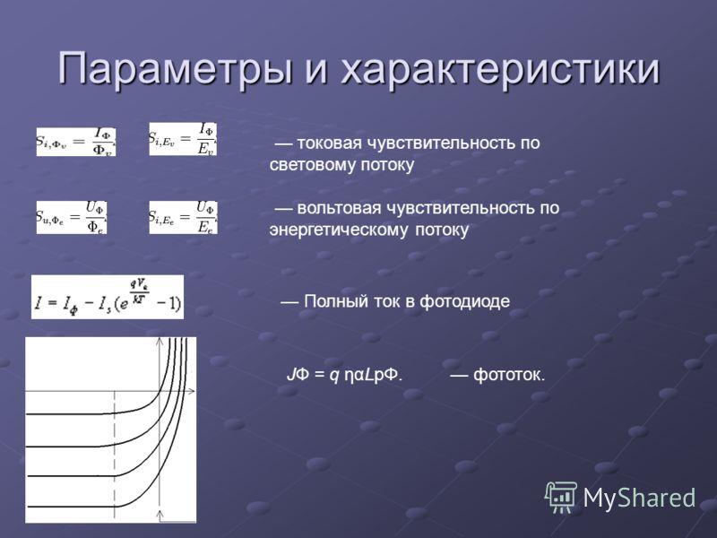 Параметры и характеристики токовая чувствительность по световому потоку вольтовая чувствительность по энергетическому потоку Полный ток в фотодиоде JФ = q ηαLpΦ. фототок.