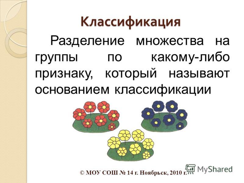 Классификация Разделение множества на группы по какому-либо признаку, который называют основанием классификации © МОУ СОШ 14 г. Ноябрьск, 2010 г.
