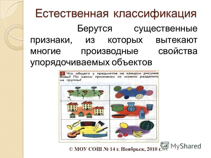 Берутся существенные признаки, из которых вытекают многие производные свойства упорядочиваемых объектов Естественная классификация © МОУ СОШ 14 г. Ноябрьск, 2010 г.