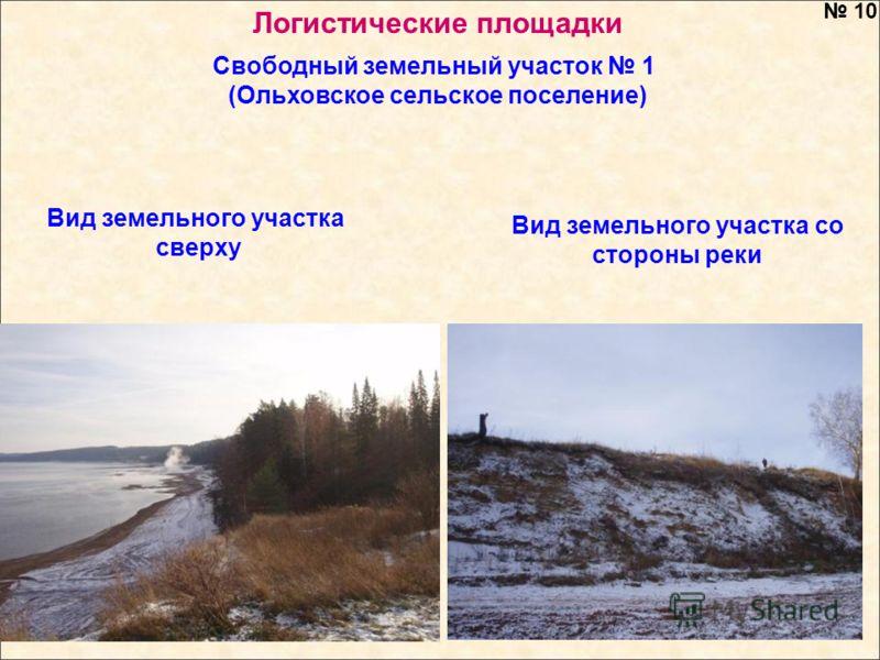 Вид земельного участка со стороны реки Вид земельного участка сверху 10 Свободный земельный участок 1 (Ольховское сельское поселение) Логистические площадки