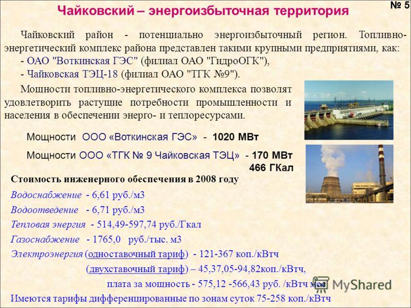 Чайковский район - потенциально энергоизбыточный регион. Топливно- энергетический комплекс района представлен такими крупными предприятиями, как: - ОАО