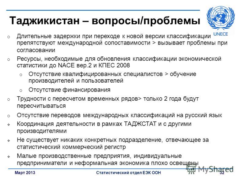 Март 2013Статистический отдел ЕЭК ООН 32 Таджикистан – вопросы/проблемы o Длительные задержки при переходе к новой версии классификации препятствуют международной сопоставимости > вызывает проблемы при согласовании o Ресурсы, необходимые для обновлен