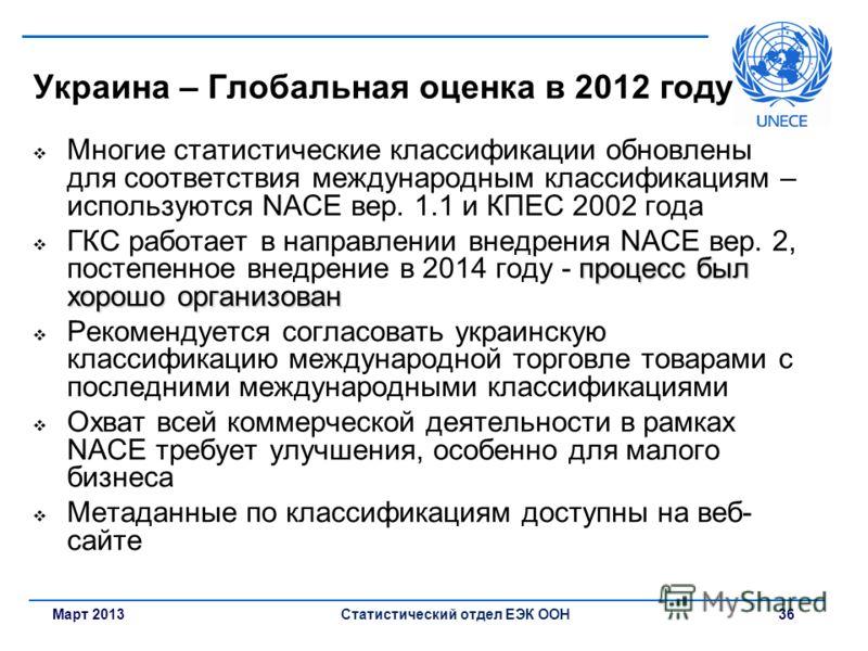 Март 2013Статистический отдел ЕЭК ООН 36 Украина – Глобальная оценка в 2012 году Многие статистические классификации обновлены для соответствия международным классификациям – используются NACE вер. 1.1 и КПЕС 2002 года процесс был хорошо организован
