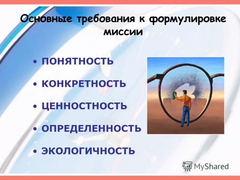 Основные требования к формулировке миссии ПОНЯТНОСТЬ КОНКРЕТНОСТЬ ЦЕННОСТНОСТЬ ОПРЕДЕЛЕННОСТЬ ЭКОЛОГИЧНОСТЬ