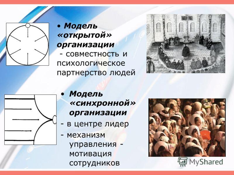 Модель «синхронной» организации - в центре лидер - механизм управления - мотивация сотрудников Модель «открытой» организации - совместность и психологическое партнерство людей