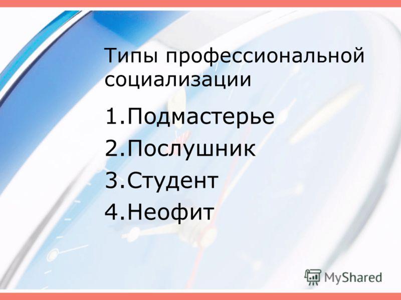 Типы профессиональной социализации 1.Подмастерье 2.Послушник 3.Студент 4.Неофит
