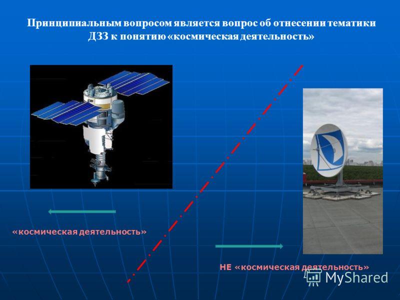 Принципиальным вопросом является вопрос об отнесении тематики ДЗЗ к понятию «космическая деятельность» «космическая деятельность» НЕ «космическая деятельность»
