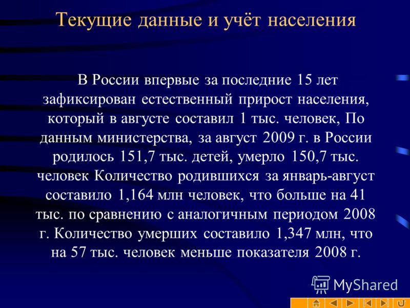 Текущие данные и учёт населения В России впервые за последние 15 лет зафиксирован естественный прирост населения, который в августе составил 1 тыс. человек, По данным министерства, за август 2009 г. в России родилось 151,7 тыс. детей, умерло 150,7 ты