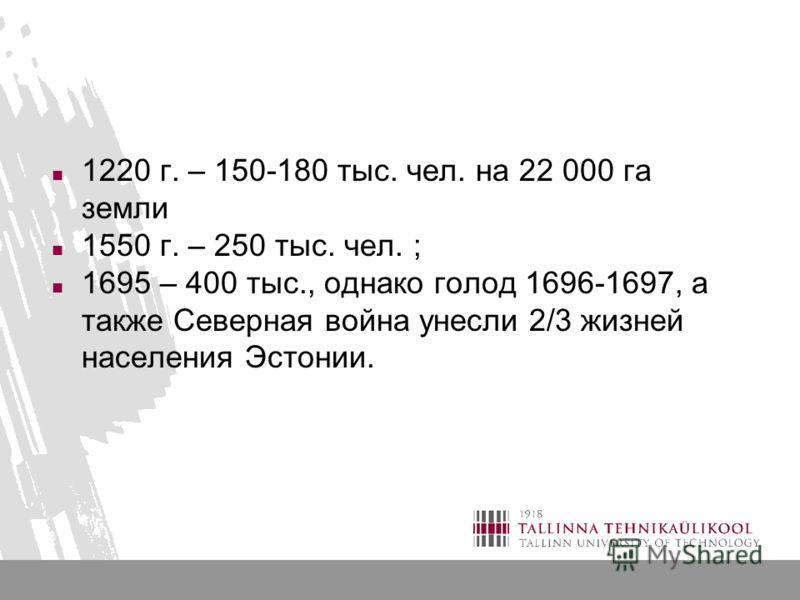 1220 г. – 150-180 тыс. чел. на 22 000 га земли 1550 г. – 250 тыс. чел. ; 1695 – 400 тыс., однако голод 1696-1697, а также Северная война унесли 2/3 жизней населения Эстонии.
