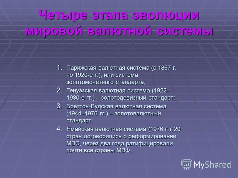 Четыре этапа эволюции мировой валютной системы 1. Парижская валютная система (с 1867 г. по 1920-е г.), или система золотомонетного стандарта; 2. Генуэзская валютная система (1922– 1930-е гг.) – золотодевизный стандарт; 3. Бреттон-Вудская валютная сис