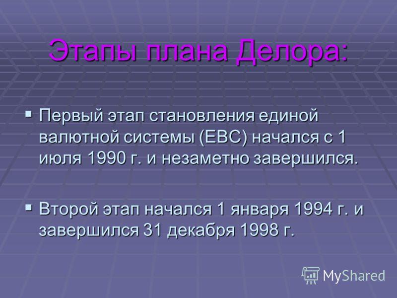 Этапы плана Делора: Первый этап становления единой валютной системы (ЕВС) начался с 1 июля 1990 г. и незаметно завершился. Первый этап становления единой валютной системы (ЕВС) начался с 1 июля 1990 г. и незаметно завершился. Второй этап начался 1 ян
