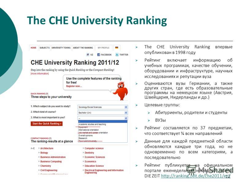 12 The СНЕ University Ranking The CHE University Ranking впервые опубликован в 1998 году Рейтинг включает информацию об учебных программах, качестве обучении, оборудовании и инфраструктуре, научных исследованиях и репутации вуза Оцениваются вузы Герм