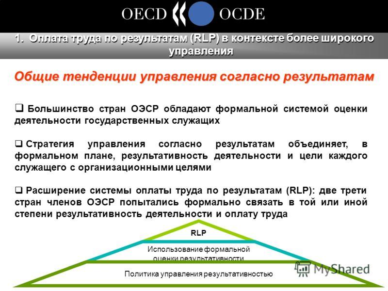 Большинство стран ОЭСР обладают формальной системой оценки деятельности государственных служащих Стратегия управления согласно результатам объединяет, в формальном плане, результативность деятельности и цели каждого служащего с организационными целям