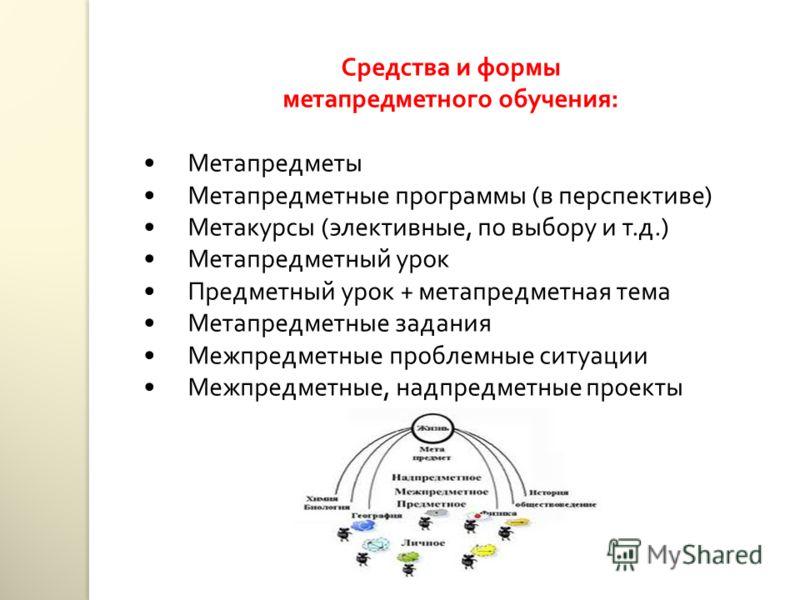 Средства и формы метапредметного обучения: Метапредметы Метапредметные программы (в перспективе) Метакурсы (элективные, по выбору и т.д.) Метапредметный урок Предметный урок + метапредметная тема Метапредметные задания Межпредметные проблемные ситуац