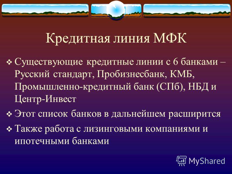 Кредитная линия МФК Существующие кредитные линии с 6 банками – Русский стандарт, Пробизнесбанк, КМБ, Промышленно-кредитный банк (СПб), НБД и Центр-Инвест Этот список банков в дальнейшем расширится Также работа с лизинговыми компаниями и ипотечными ба