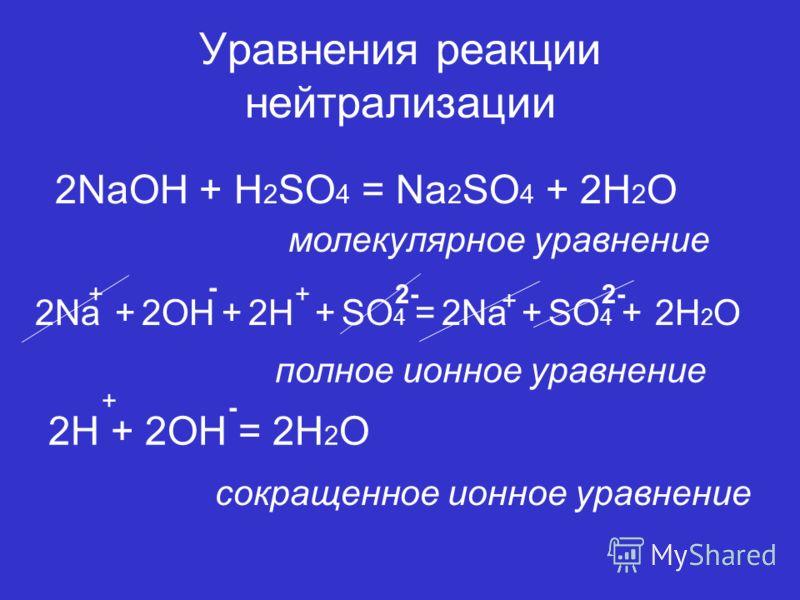 Уравнения реакции нейтрализации 2NaOH + H 2 SO 4 = Na 2 SO 4 + 2H 2 O молекулярное уравнение 2H 2 O + - +2- + полное ионное уравнение 2H + 2OH = 2H 2 O + - сокращенное ионное уравнение 2OH+SO 4 = +2Na+2H+2Na+