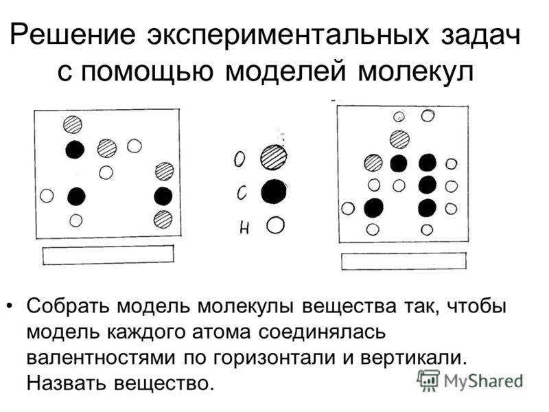 Решение экспериментальных задач с помощью моделей молекул Собрать модель молекулы вещества так, чтобы модель каждого атома соединялась валентностями по горизонтали и вертикали. Назвать вещество.