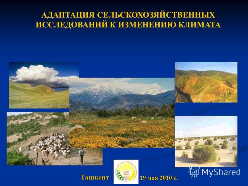 19 мая 2010 г. 19 мая 2010 г. Ташкент АДАПТАЦИЯ СЕЛЬСКОХОЗЯЙСТВЕННЫХ ИССЛЕДОВАНИЙ К ИЗМЕНЕНИЮ КЛИМАТА