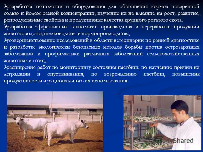 разработка технологии и оборудования для обогащения кормов поваренной солью и йодом разной концентрации, изучение их на влияние на рост, развитие, репродуктивные свойства и продуктивные качества крупного рогатого скота. разработка эффективных техноло