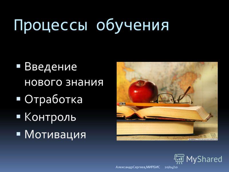 Процессы обучения Введение нового знания Отработка Контроль Мотивация 20/04/10АлександрСергеев,МИРБИС