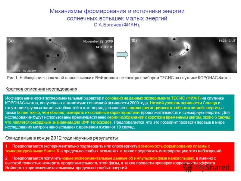 Механизмы формирования и источники энергии солнечных вспышек малых энергий С.А.Богачев (ФИАН), Рис.1. Наблюдение солнечной нановспышки в ВУФ диапазоне спектра прибором ТЕСИС на спутнике КОРОНАС-Фотон Исследование носит экспериментальный характер и ос
