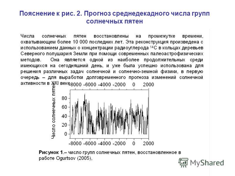Пояснение к рис. 2. Прогноз среднедекадного числа групп солнечных пятен
