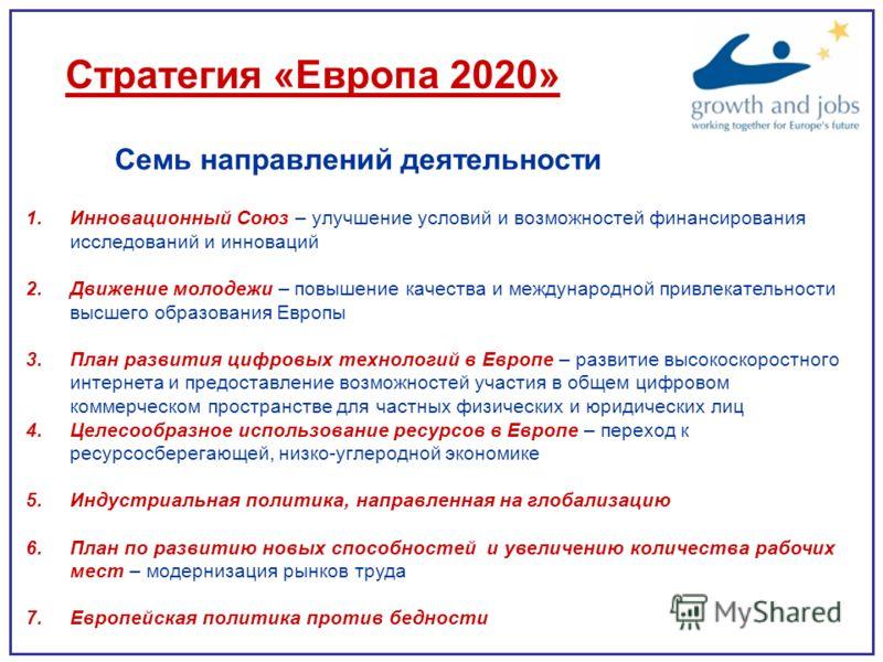 Стратегия «Европа 2020» Семь направлений деятельности 1.Инновационный Союз – улучшение условий и возможностей финансирования исследований и инноваций 2.Движение молодежи – повышение качества и международной привлекательности высшего образования Европ