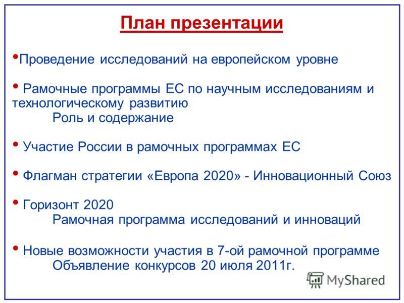 План презентации Проведение исследований на европейском уровне Рамочные программы ЕС по научным исследованиям и технологическому развитию Роль и содержание Участие России в рамочных программах ЕС Флагман стратегии «Европа 2020» - Инновационный Союз Г