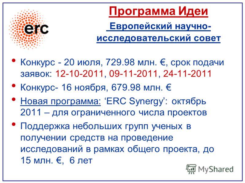 Программа Идеи Европейский научно- исследовательский совет Конкурс - 20 июля, 729.98 млн., срок подачи заявок: 12-10-2011, 09-11-2011, 24-11-2011 Конкурс- 16 ноября, 679.98 млн. Новая программа: ERC Synergy: октябрь 2011 – для ограниченного числа про