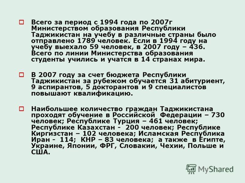 Всего за период с 1994 года по 2007г Министерством образования Республики Таджикистан на учебу в различные страны было отправлено 1789 человек. Если в 1994 году на учебу выехало 59 человек, в 2007 году – 436. Всего по линии Министерства образования с