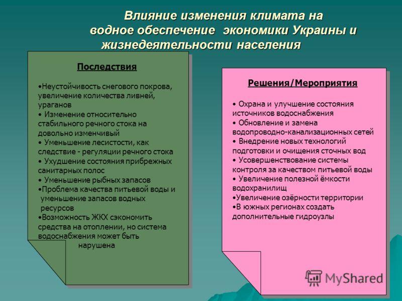 12 Влияние изменения климата на водное обеспечение экономики Украины и жизнедеятельности населения Влияние изменения климата на водное обеспечение экономики Украины и жизнедеятельности населения Последствия Неустойчивость снегового покрова, увеличени