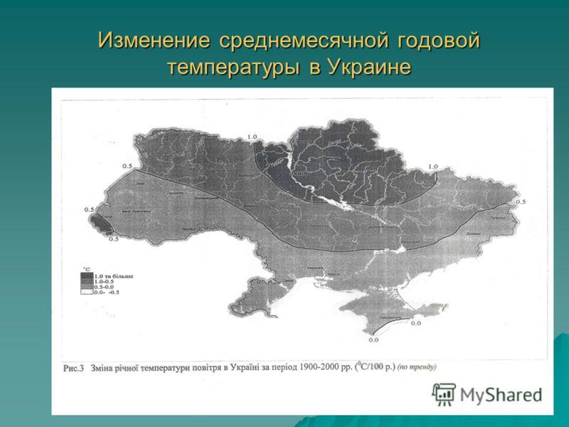 8 Изменение среднемесячной годовой температуры в Украине
