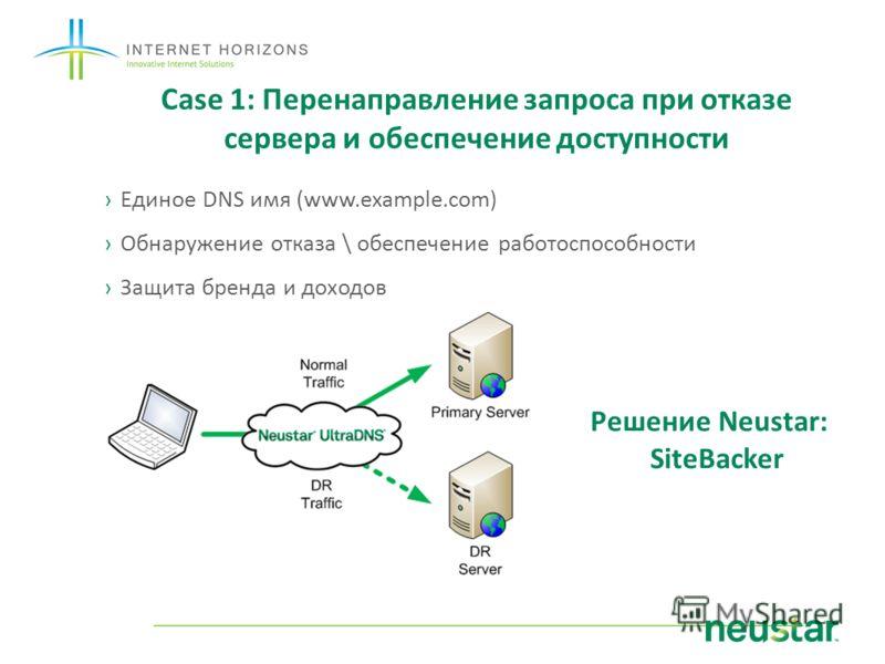 Case 1: Перенаправление запроса при отказе сервера и обеспечение доступности Единое DNS имя (www.example.com) Обнаружение отказа \ обеспечение работоспособности Защита бренда и доходов Решение Neustar: SiteBacker