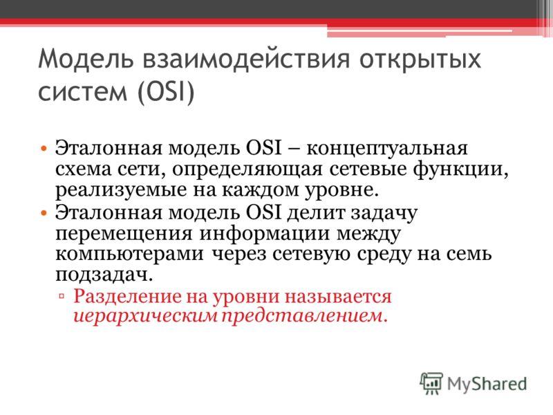 Модель взаимодействия открытых систем (OSI) Эталонная модель OSI – концептуальная схема сети, определяющая сетевые функции, реализуемые на каждом уровне. Эталонная модель OSI делит задачу перемещения информации между компьютерами через сетевую среду