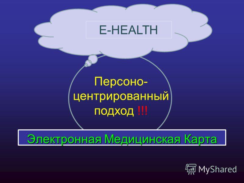 Персоно- центрированный подход !!! Электронная Медицинская Карта E-HEALTH