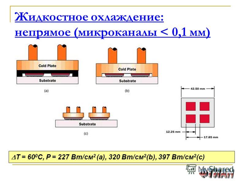 Жидкостное охлаждение: непрямое (микроканалы < 0,1 мм) T = 60 0 C, Р = 227 Вт/см 2 (а), 320 Вт/см 2 (b), 397 Вт/см 2 (c)