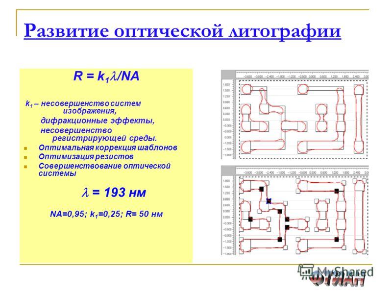 Развитие оптической литографии R = k 1 /NA k 1 – несовершенство систем изображения, дифракционные эффекты, несовершенство регистрирующей среды. Оптимальная коррекция шаблонов Оптимизация резистов Совершенствование оптической системы = 193 нм NA=0,95;