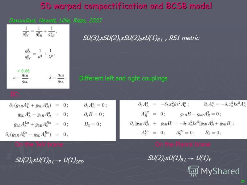 25 5D warped compactification and BCSB model Davoudiasl, Hewett, Lillie, Rizzo, 2003 On the TeV braneOn the Planck brane BC: SU(3) c xSU(2) L xSU(2) R xU(1) B-L, RS1 metric Different left and right couplings SU(2) L xU(1) B-L U(1) QED SU(2) L xU(1) B
