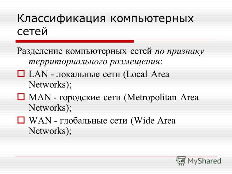 Классификация компьютерных сетей Разделение компьютерных сетей по признаку территориального размещения: LAN - локальные сети (Local Area Networks); MAN - городские сети (Metropolitan Area Networks); WAN - глобальные сети (Wide Area Networks);