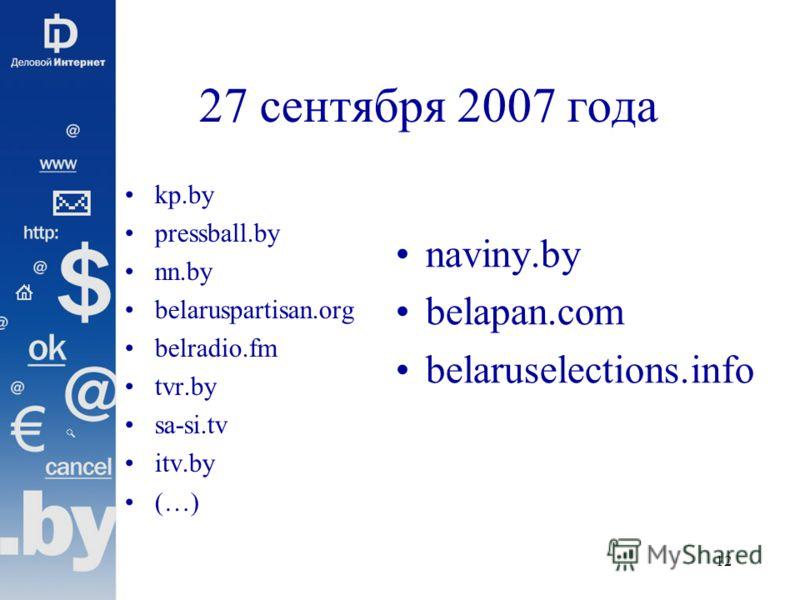 12 27 сентября 2007 года kp.by pressball.by nn.by belaruspartisan.org belradio.fm tvr.by sa-si.tv itv.by (…) naviny.by belapan.com belaruselections.info