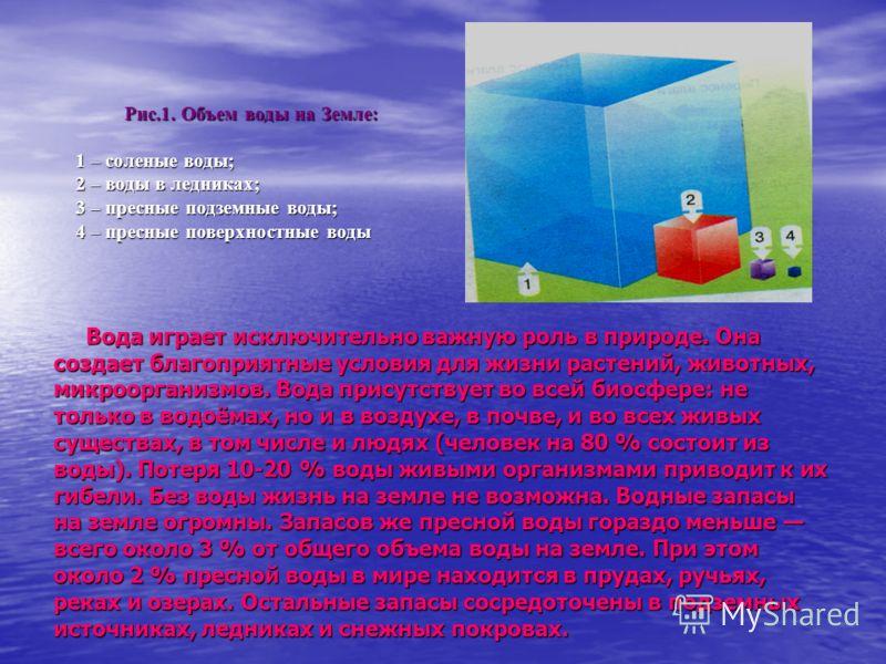 Рис.1. Объем воды на Земле: 1 – соленые воды; 1 – соленые воды; 2 – воды в ледниках; 2 – воды в ледниках; 3 – пресные подземные воды; 3 – пресные подземные воды; 4 – пресные поверхностные воды 4 – пресные поверхностные воды Вода играет исключительно