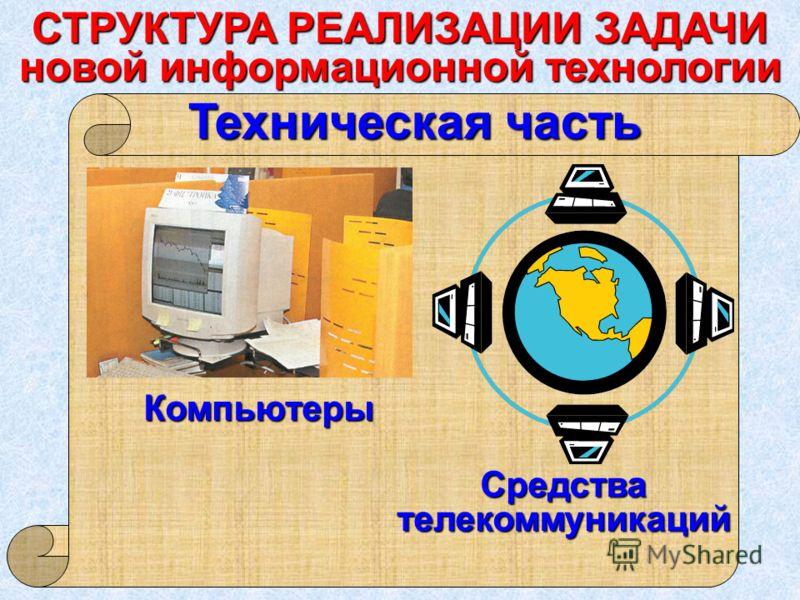 Техническая часть Средствателекоммуникаций Компьютеры СТРУКТУРА РЕАЛИЗАЦИИ ЗАДАЧИ новой информационной технологии