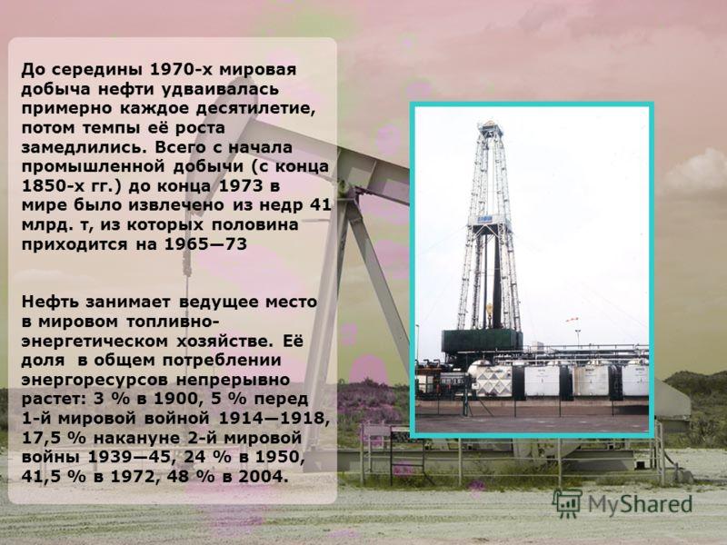 До середины 1970-х мировая добыча нефти удваивалась примерно каждое десятилетие, потом темпы её роста замедлились. Всего с начала промышленной добычи (с конца 1850-х гг.) до конца 1973 в мире было извлечено из недр 41 млрд. т, из которых половина при