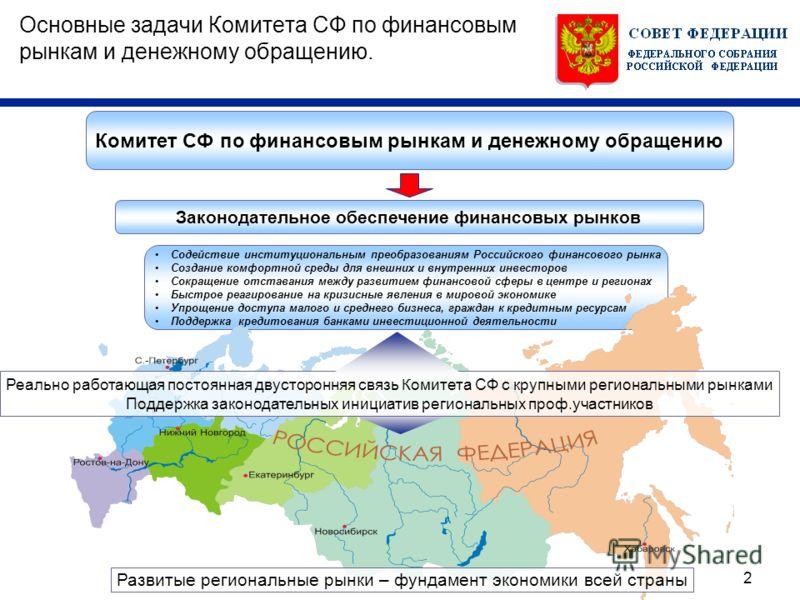 2 Содействие институциональным преобразованиям Российского финансового рынка Создание комфортной среды для внешних и внутренних инвесторов Сокращение отставания между развитием финансовой сферы в центре и регионах Быстрое реагирование на кризисные яв