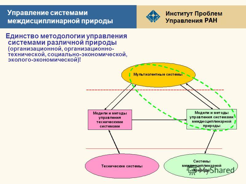 РАН Управление системами междисциплинарной природы Единство методологии управления системами различной природы (организационной, организационно- технической, социально-экономической, эколого-экономической)!