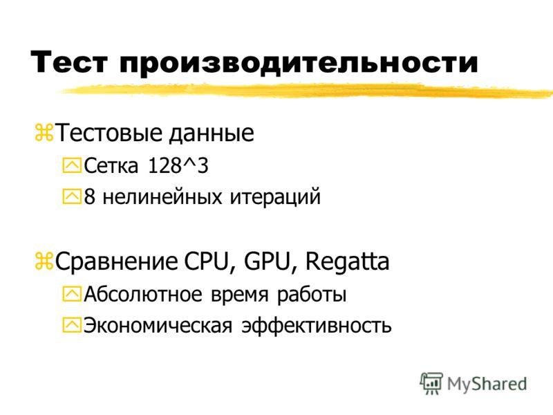 Тест производительности zТестовые данные yСетка 128^3 y8 нелинейных итераций zСравнение CPU, GPU, Regatta yАбсолютное время работы yЭкономическая эффективность