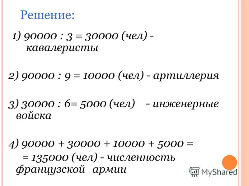 1) 90000 : 3 = 30000 (чел) - кавалеристы 2) 90000 : 9 = 10000 (чел) - артиллерия 3) 30000 : 6= 5000 (чел) - инженерные войска 4) 90000 + 30000 + 10000 + 5000 = = 135000 (чел) - численность французской армии Решение: