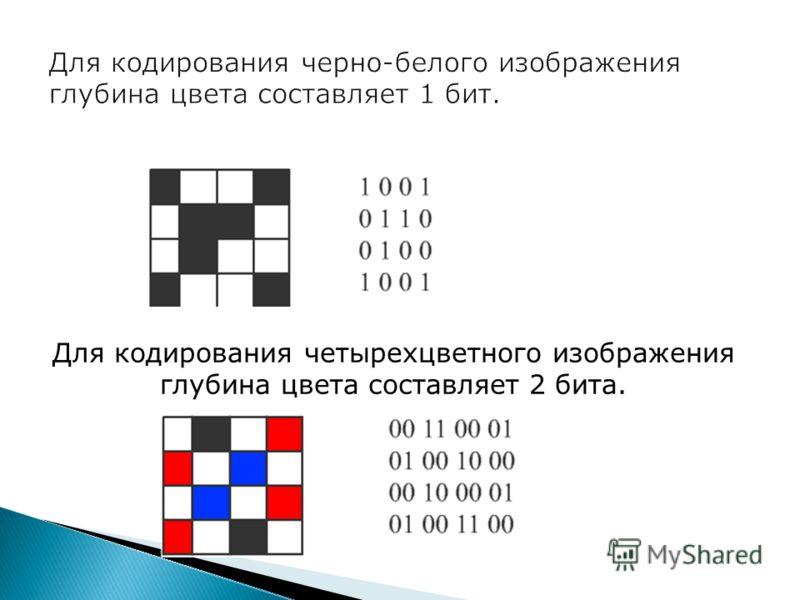 Для кодирования четырехцветного изображения глубина цвета составляет 2 бита.