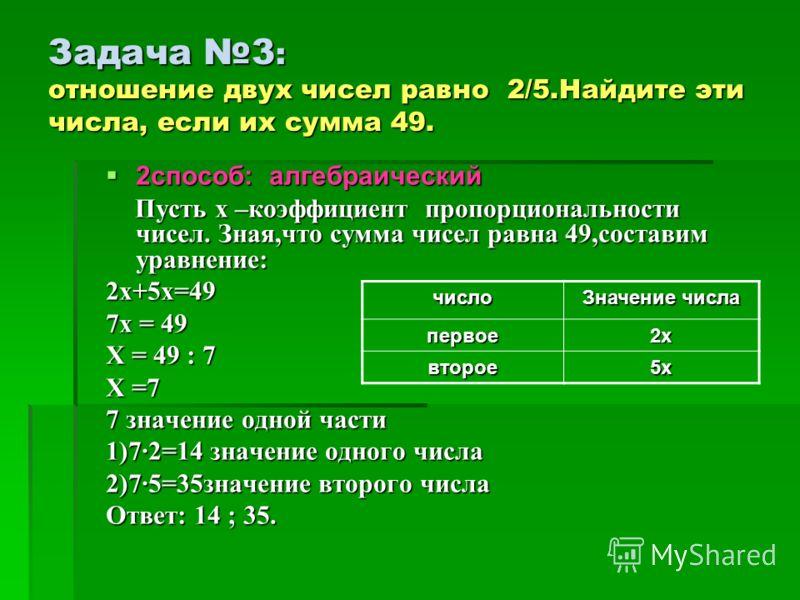 Задача 3 : отношение двух чисел равно 2/5.Найдите эти числа, если их сумма 49. 2способ: алгебраический 2способ: алгебраический Пусть х –коэффициент пропорциональности чисел. Зная,что сумма чисел равна 49,составим уравнение: Пусть х –коэффициент пропо